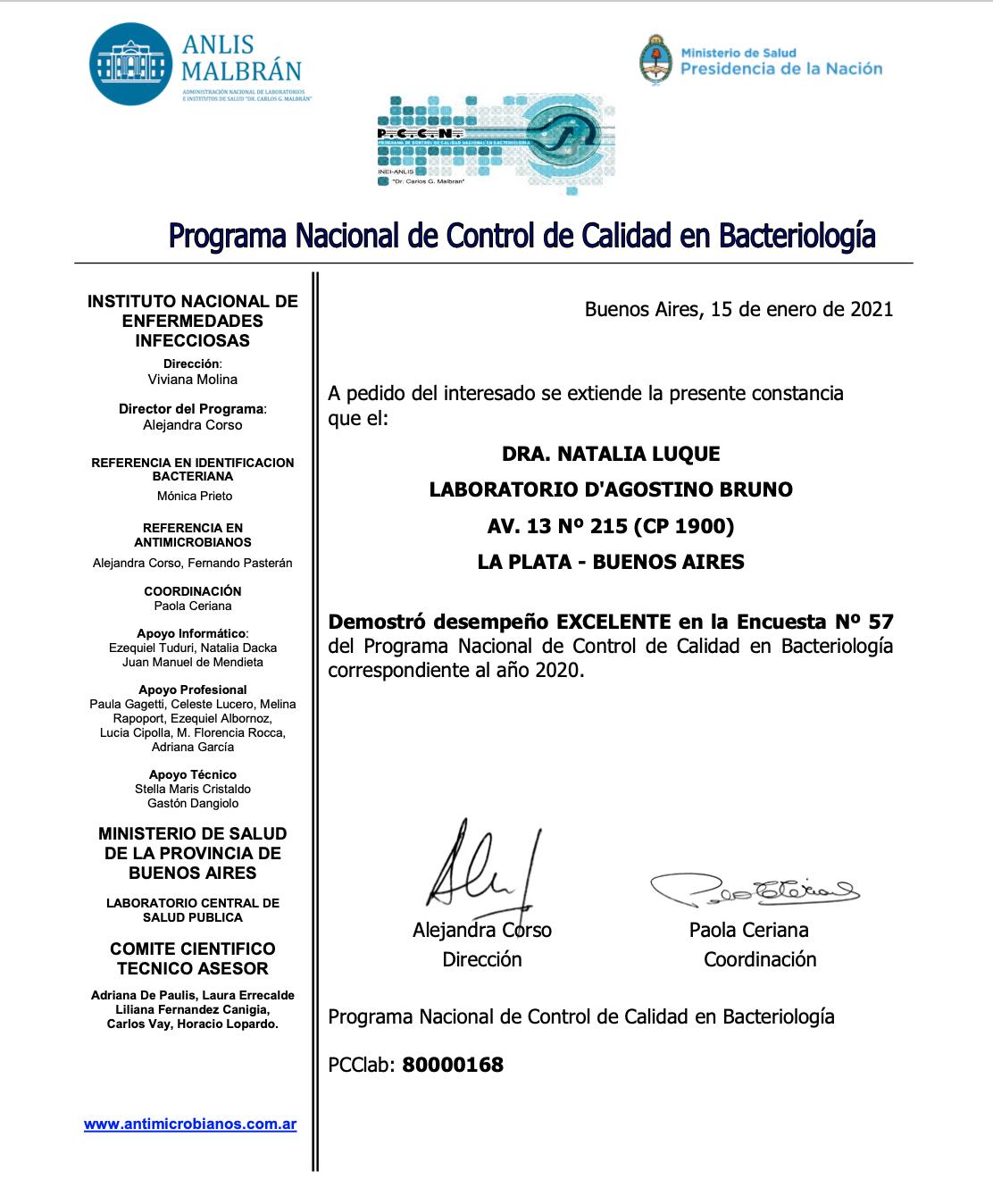 2021 cert participación PCCNAC en 2020 -80000168-Certificado Enc 57